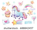 watercolor set with unicorn ... | Shutterstock . vector #688842457