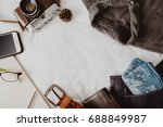 packing a suitcase of holidays... | Shutterstock . vector #688849987