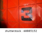 Three   Number On Metal Door