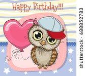 greeting card cute cartoon owl... | Shutterstock .eps vector #688852783