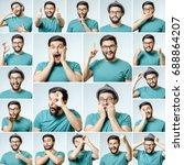 set of handsome emotional man... | Shutterstock . vector #688864207