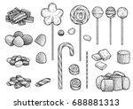 candy collection illustration ... | Shutterstock .eps vector #688881313