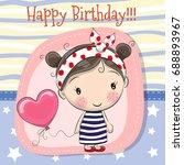 greeting card cute cartoon girl ... | Shutterstock .eps vector #688893967