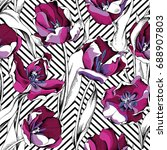 seamless pattern with image of... | Shutterstock .eps vector #688907803