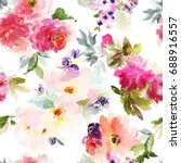 Stock photo seamless summer pattern with watercolor flowers handmade 688916557