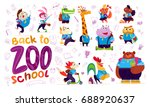 vector flat collection of happy ... | Shutterstock .eps vector #688920637