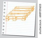sketch of a wooden pallet | Shutterstock .eps vector #688939603
