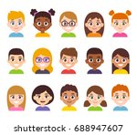 cartoon children avatar set.... | Shutterstock .eps vector #688947607