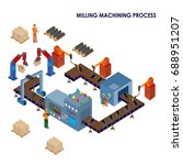 isometric automated production... | Shutterstock .eps vector #688951207