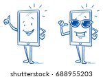 happy cartoon smart phone... | Shutterstock .eps vector #688955203