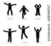stick figure happiness  freedom ... | Shutterstock . vector #688968517