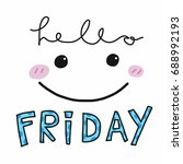 hello friday word and cute... | Shutterstock .eps vector #688992193