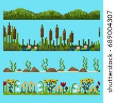 set of pixel landscape elements ... | Shutterstock .eps vector #689004307