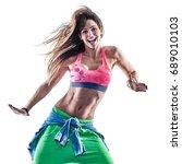 one caucasian woman cardio... | Shutterstock . vector #689010103