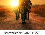 Troop With Gun Weapons Of Long...