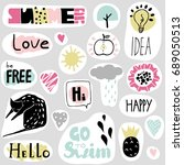 set of funny stickers in... | Shutterstock .eps vector #689050513