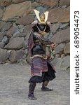 Samurai Warrior Posing Before...