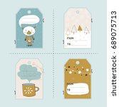 vector set of winter gift tag... | Shutterstock .eps vector #689075713