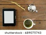 e book  e reader with  hot...   Shutterstock . vector #689075743