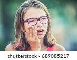 portrait of young teen girl... | Shutterstock . vector #689085217