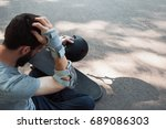 extreme sport painful injury.... | Shutterstock . vector #689086303