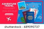 adventure travel banner.... | Shutterstock .eps vector #689090737