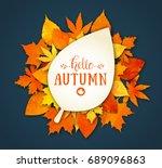 autumn season banner. greeting... | Shutterstock .eps vector #689096863