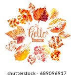 autumn season banner. greeting... | Shutterstock .eps vector #689096917