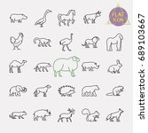 animals line icons set | Shutterstock .eps vector #689103667