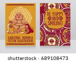 greeting cards with laughing... | Shutterstock .eps vector #689108473