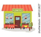 flowers shop facade  vector... | Shutterstock .eps vector #689111827