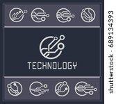technology circuit element. | Shutterstock .eps vector #689134393