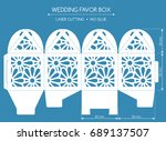 openwork favor box with a lace... | Shutterstock .eps vector #689137507