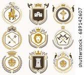 vector vintage heraldic coat of ... | Shutterstock .eps vector #689142607
