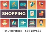 set of modern vector flat... | Shutterstock .eps vector #689159683