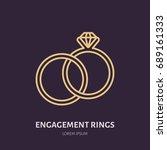 brilliant engagement rings...   Shutterstock .eps vector #689161333