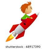 Vector illustration. Cartoon boy fly riding red fast rocket. - stock vector