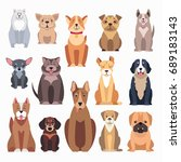 different kinds of dog breeds... | Shutterstock . vector #689183143