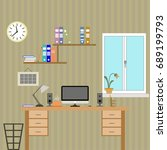 flat office with devices.... | Shutterstock .eps vector #689199793