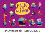 vector flat collection of happy ... | Shutterstock .eps vector #689205277