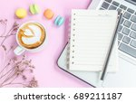 top view of notebook with... | Shutterstock . vector #689211187
