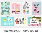 7 fun happy friendship day... | Shutterstock .eps vector #689212213