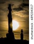 Graveyard At Sunset Dark Cloud...