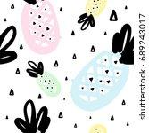 hand drawn seamless pattern...   Shutterstock .eps vector #689243017