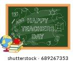 happy teacher day greeting card ... | Shutterstock .eps vector #689267353