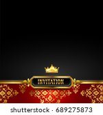 invitation card with gold... | Shutterstock . vector #689275873