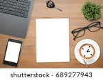 top views of desk with glasses  ... | Shutterstock . vector #689277943