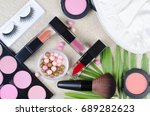 makeup products with cosmetic... | Shutterstock . vector #689282623