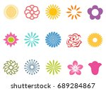 color flower icons set | Shutterstock .eps vector #689284867