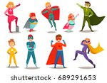 retro set of kids superheroes... | Shutterstock .eps vector #689291653